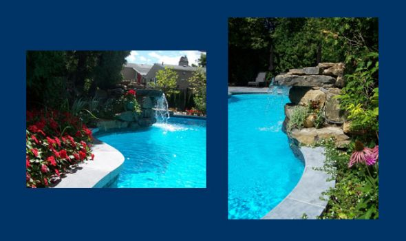 Breault et Monette -  	Urban garden / Stone terrace / Organic swimming pool with waterfalls