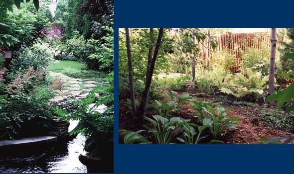 Breault et Monette - Garden of the senses / Scented path / Garden pond /  	Woodland with indigenous planting